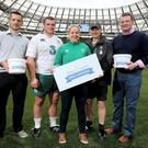 David Mitchell of Pieta House, Ireland front-row forward Jack McGrath, Ireland women's full-back Niamh Briggs, Ireland head coach Joe Schmidt and David Corkery launch the 'Mind Ur Buddy' Mental Fitness Initiative with Pieta House at the Aviva Stadium SPORTSFILE