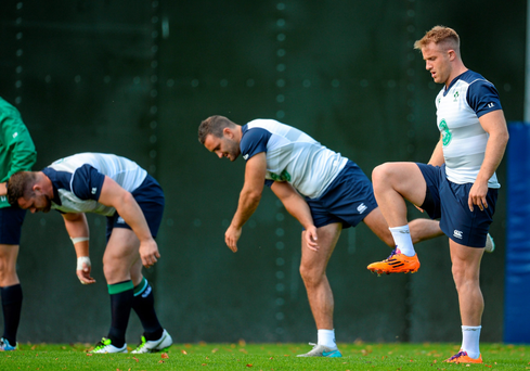 Cian Healy, Dave Kearney and Luke Fitzgerald during the Irish squad's training session in Cardiff yesterday