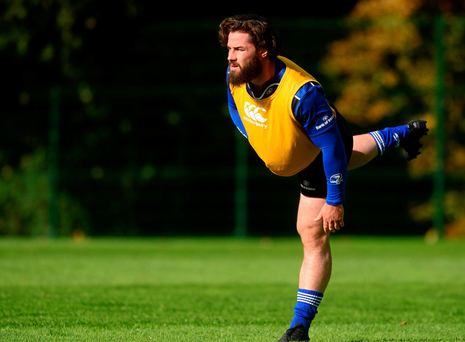 Leinster's Mick McGrath during squad training at Belfield this week ahead of tonight's trip to play Scarlets