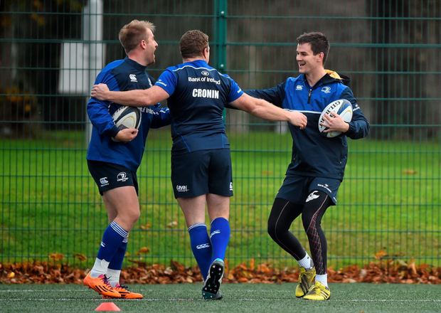 Leinster's Jonathan Sexton, right, Luke Fitzgerald, left, and Sean Cronin during squad training. Rosemount, UCD, Belfield, Dublin