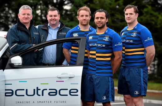 Leinster stars Luke Fitzgerald, Isa Nacewa and Jamie Heaslip with Aidan McDonnell (left) MD, and John Lynch, CTO, from Acutrace – Sponsors for a day for the Bath clash