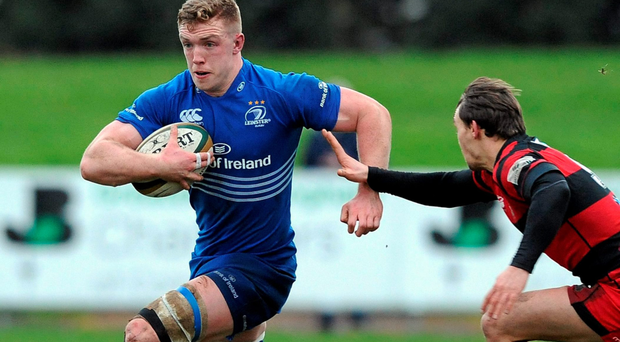 Dan Leavy on the rampage for Leinster A against Moseley in the B&I Cup (SPORTSFILE)