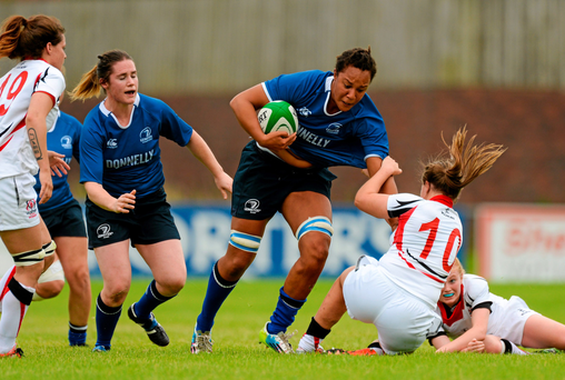 Sophie Spence on the charge for Leinster against Ulster (SPORTSFILE)