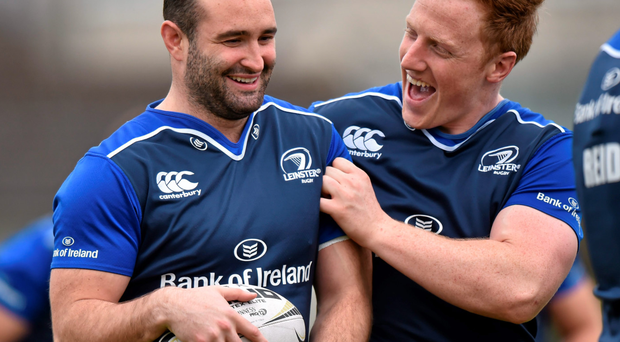 Leinster's Dave Kearney, left, and James Tracy share a joke during training in Belfield. Picture credit: Ramsey Cardy / SPORTSFILE
