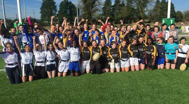 Players at the secondary schools girls' blitz run by local CCRO David Farrelly and Moate CCRO Kieran Slyne at Mullingar Rugby Club