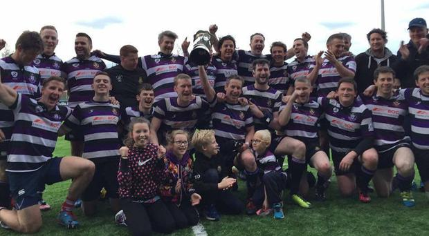 Terenure's 6th XV celebrate after winning the Guilfoyle-James Cup