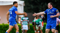 Peter Dooley (right) celebrates with Leinster team-mate Adam Byrne (left) after dotting down against Benetton. Photo: Sportsfile