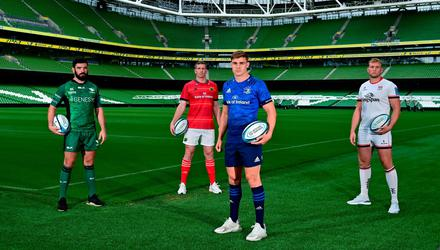 Garry Ringrose of Leinster, with from left, Paul Boyle of Connacht, Chris Farrell of Munster and Kieran Treadwell of Ulster during the United Rugby Championship launch at the Aviva Stadium. Photo: Brendan Moran/Sportsfile