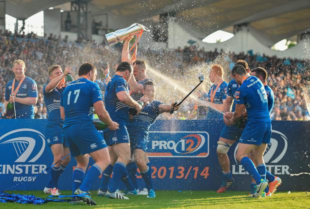 Leinster players celebrate after the PRO12 2013/14 Grand Final
