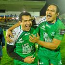 Connacht's Mils Muliaina, left, and George Naoupu after their side's win