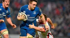 Leinster's rising star Jack Conan is tackled by Ulster's Andrew Warwick at the RDS on Saturday