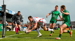 Tommy Bowe goes over for Ulster's fourth try at the Sportsground on Saturday