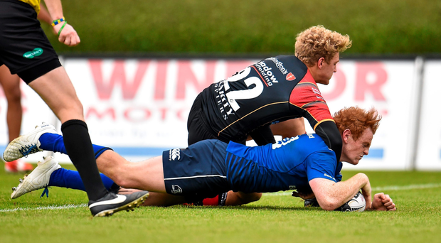 Cathal Marsh scores against Newport Gwent Dragons during their Pro12 game