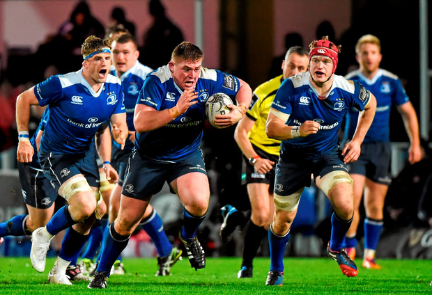 Leinster's Tadhg Furlong on the charge, supported by team-mates Jamie Heaslip (left) and Josh van der Flier