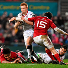 Ulster's Rory Scholes has his way blocked by Lucas Gonzalez Amorosino during their Guinness Pro12 clash in Kingspan Stadium yesterday. Photo: Ramsey Cardy/Sportsfile