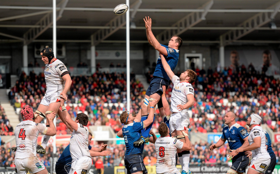 Leinster's Devin Toner takes the ball in the lineout against Ulster's Iain Henderson. Photo: Sportsfile