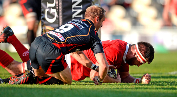 Jean Kleyn scores Munster's first try against the Dragons yesterday. Photo: Sportsfile
