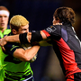 Leinster's Luke McGrath is tackled by Edinburgh's Hamish Watson during their Pro12 clash. Photo by Ramsey Cardy/Sportsfile