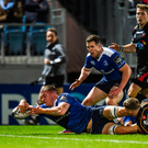 Ross Molony reaches out to score his side's second try against Dragons in the Guinness PRO12 match at the RDS last night: Photo: Stephen McCarthy