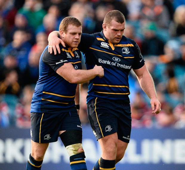 Sean Cronin and Jack McGrath embrace as they are substituted during Leinster's victory over Castres in October. Photo: Sam Barnes/Sportsfile