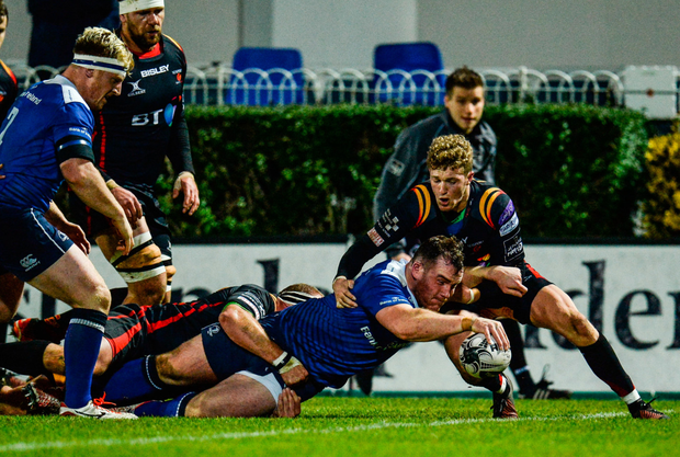 Peter Dooley scores a try against the Dragons at the RDS in December. Photo: Seb Daly/Sportsfile