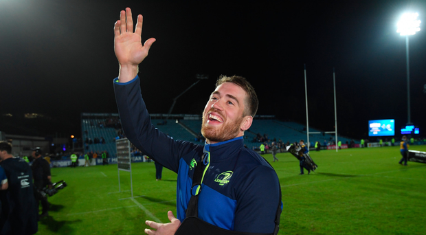 Dominic Ryan bids farewell to the Leinster faithful after the win over Glasgow STEPHEN MCCARTHY/SPORTSFILE