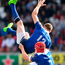 Garry Ringrose goes airborne to gather the ball against Ulster. Photo: Sportsfile
