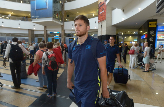 Leinster's Ross Byrne arrives at OR Tambo Airport in Johannesburg. Photo: SPORTSFILE