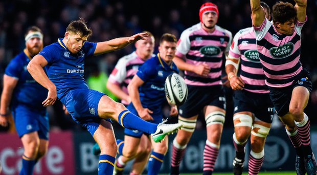 Ross Byrne getting his kick away under pressure against Cardiff Blues. Photo: SPORTSFILE