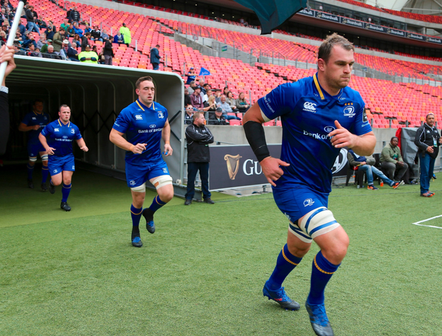 Rhys Ruddock leads the team out before Leinster's game with the Southern Kings in Port Elizabeth. Photo: Sportsfile