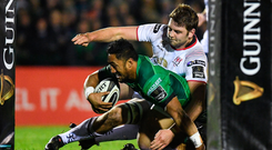 Bundee Aki gets over the Ulster line for Connacht's second try of the night. Photo: Sam Barnes Photo: Sportsfile