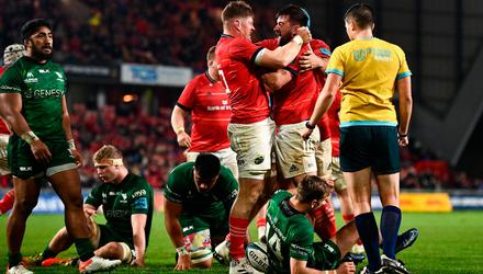 Diarmuid Barron of Munster, right, celebrates with Jack O'Donoghue after scoring his side's second try during the United Rugby Championship match between Munster and Connacht at Thomond Park in Limerick. Photo by David Fitzgerald/Sportsfile