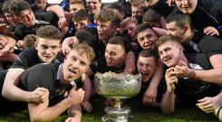 Roscrea celebrate their victory in the Leinster Schools Senior Cup rugby competition