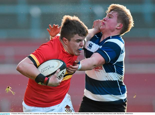CBC's Gordon Good is tackled by Jack Henchy, Crescent College