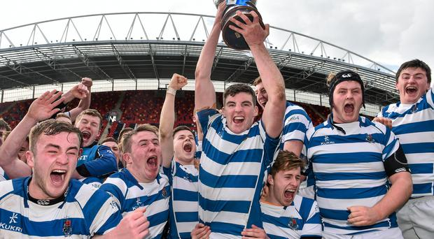 Rockwell celebrate their 2015 Munster Schools SeniorCup victory over Ard Scoil Ris