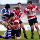 Hard yards: Garbally's Fergus Finneran with Tom Farrell of CBS in the Connacht Schools Senior A Cup final at the Galway Sportsgrounds last year