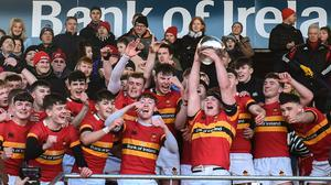 Christian Brothers College captain Scott Buckley lifting the cup last year. Photo by Eóin Noonan/Sportsfile