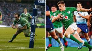 Girvan Dempsey (left) and Garry Ringrose both feature in our ranking of the greatest Ireland players of the Six Nations era.