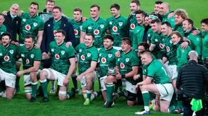 CJ Stander holds the Millennium Trophy after Ireland's win over England. Picture by Niall Carson/PA Wire