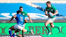 Jonathan Sexton of Ireland makes a break during the Guinness Six Nations Rugby Championship match against Italy. Photo: Roberto Bregani/Sportsfile