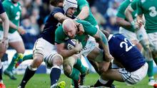 Paul O'Connell is tackled by Scotland's Blair Cowan (left) and Greig Tonks at Murrayfield in the Six Nations