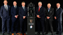 Head coaches Conor O'Shea (Italy), Gregor Townsend (Scotland), Joe Schmidt (Ireland), Warren Gatland (Wales), Eddie Jones (England), and Jacques Brunel (France) at the Six Nations Championship launch yesterday. Photo: Getty Images