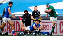Ireland's Tadhg Beirne makes a break during the Guinness Six Nations victory over Italy at Stadio Olimpico, Rome. Photo: Roberto Bregani/Sportsfile