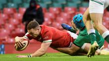 Wales' George North scores a try against Ireland. He will make his 100th cap today. Photo: Rebecca Naden/Reuters