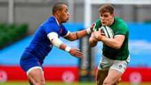 Garry Ringrose takes on Gaël Fickou during the Six Nations match between Ireland and France at the Aviva Stadium, Dublin, on February 14. Photo: Brendan Moran/Sportsfile