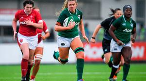 Ireland's Dorothy Wall makes a break during her side's Six Nations win over Wales last week. Photo: Ramsey Cardy/Sportsfile