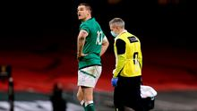 Johnny Sexton was forced off in the latter stages of Ireland's defeat in Wales last weekend. Photo: Gareth Everett/Sportsfile