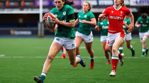 Hannah Tyrrell runs in to score a try against Wales in Cardiff. Ireland will need another big performance from the out-half against France today. Photo: Chris Fairweather/Sportsfile