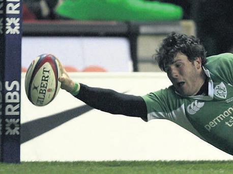 Shane Horgan scores the winning try for Ireland against England close to the corner flag at Twickenham in 2006.
