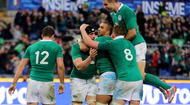 Ireland's Tommy O'Donnell (centre) is congratulated by team mates after scoring the second try for his side during the RBS 6 Nations match at the Stadio Olympico, Rome